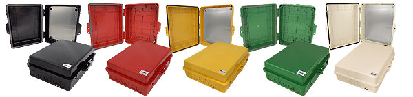 Altelix Black, Red and Yellow NP Series Weatherproof Enclosures
